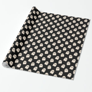 White cartoon ghosts on black wrapping paper