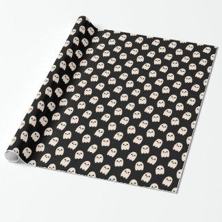 White cartoon ghosts on black gift wrap