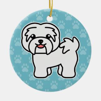 White Cartoon Havanese Dog Christmas Ornament