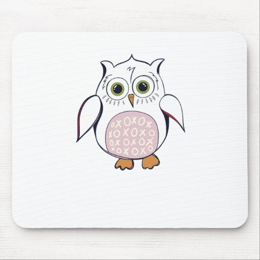 White Cartoon Owl Mousepads