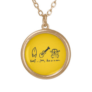 WHITE CARTOON SURFERS SURF JAM LIVE VAN MOTTO FUN GOLD PLATED NECKLACE
