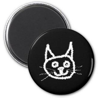 White Cat. 6 Cm Round Magnet