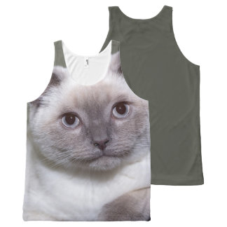 White cat All-Over print tank top