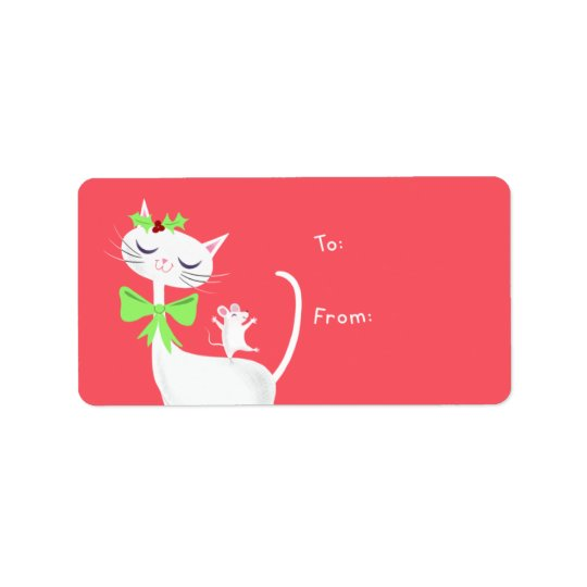 White Cat and Mouse Gift Address Label