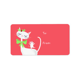 White Cat and Mouse Gift Label