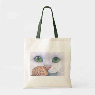 White cat and snail tote bag