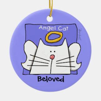 White Cat Angel Personalize Round Ceramic Decoration