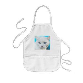 White cat apron