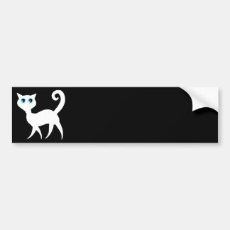 White Cat Bumper Sticker