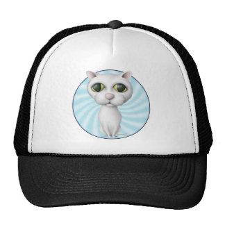 White Cat Cartoon - Blank Trucker Hat