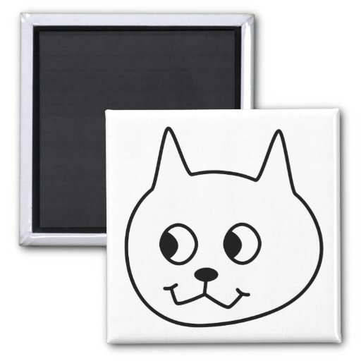 White Cat Cartoon. Magnets