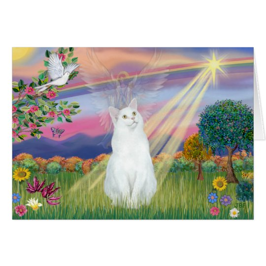 White Cat - Cloud Angel Card