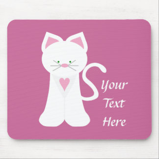White Cat (customizable) Mouse Mat