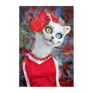 White cat, day of the dead acrylic print