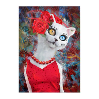White cat, day of the dead acrylic wall art