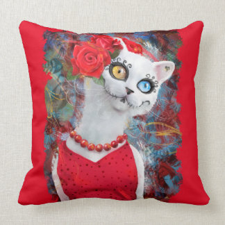White cat, day of the dead cushion