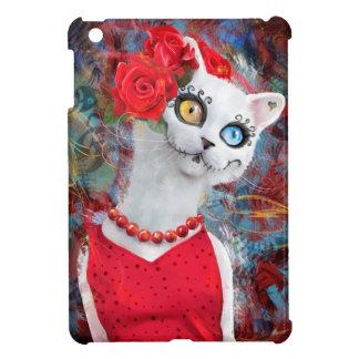 White cat, day of the dead iPad mini case