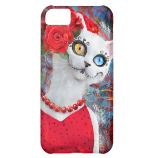 White cat, day of the dead iPhone 5C case