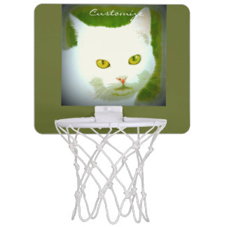 white cat face pattern Thunder_Cove Mini Basketball Hoop