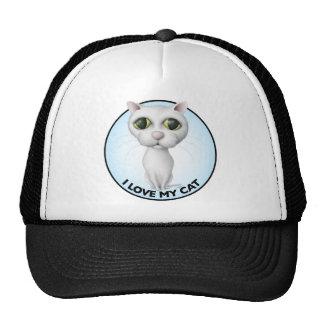 White Cat - I Love My Cat Trucker Hats