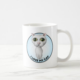 White Cat - I Love My Cat Mug