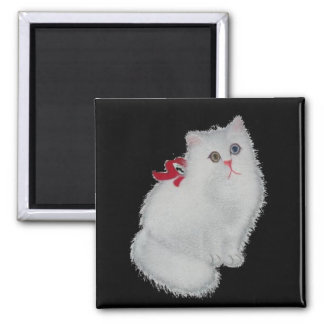 White cat refrigerator magnet