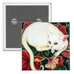 White Cat on a Cushion Badges