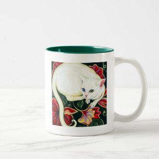 White Cat on a Cushion Mug