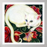 White Cat on a Cushion Print