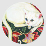 White Cat on a Cushion Stickers