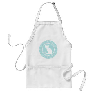 White Cat on Baby Blue Circles Standard Apron