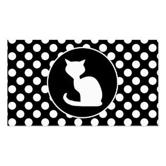 White Cat on Black and White Polka Dots Business Card