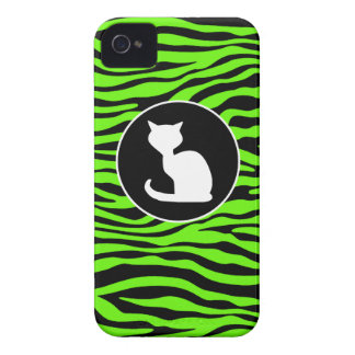 White Cat on Bright Neon Green Zebra Stripes iPhone 4 Cases