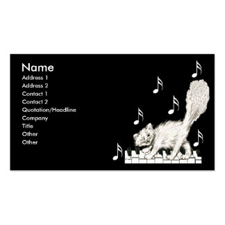 White Cat on Piano Keys Business Cards