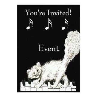 White Cat on Piano Keys Card