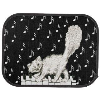 White Cat on Piano Keys Music Notes Car Mat