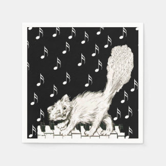 White Cat on Piano Keys Music Notes Disposable Napkin