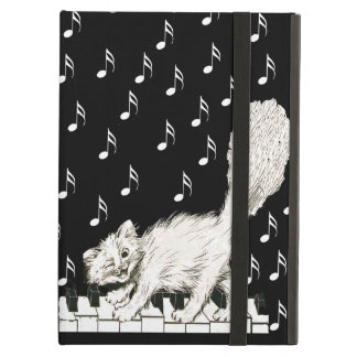 White Cat on Piano Keys Music Notes iPad Air Cover