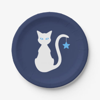 White Cat Paper Plate