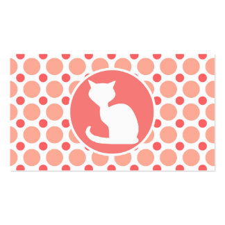 White Cat; Pink & Coral Polka Dots Business Card Template