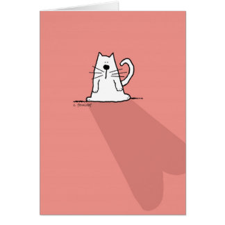 White Cat, Pink Valentine Heart Card