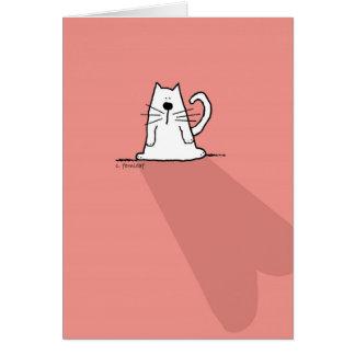 White Cat, Pink Valentine Heart Greeting Card