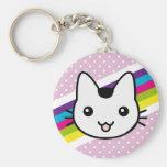 white cat polka dots key chain