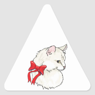 White Cat Red Bow Triangle Sticker