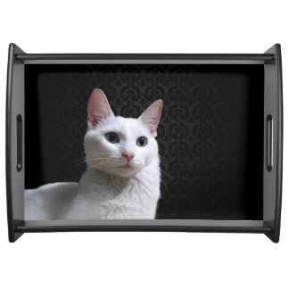 White cat serving tray