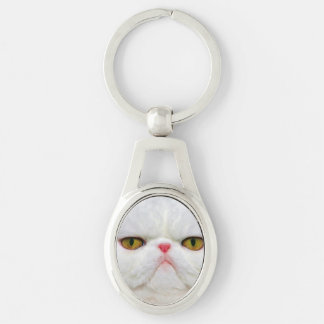 White Cat Silver-Colored Oval Key Ring