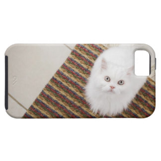White cat sitting on mat iPhone 5 cases