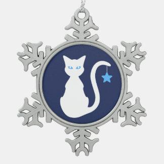 White Cat Snowflake Ornament