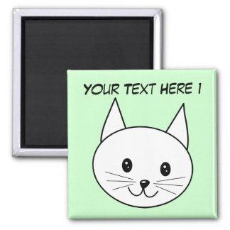 White Cat Square Magnet