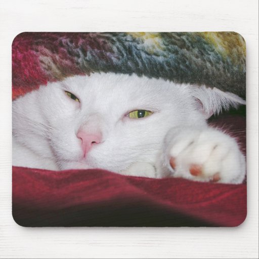 White Cat Under a Blanket Mousepad
